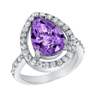ELYA Sterling Silver Purple Pear-cut Cubic Zirconia Halo Ring