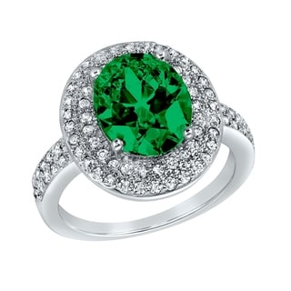 ELYA Sterling Silver Green Oval-cut Cubic Zirconia Halo Ring