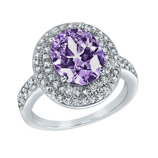 ELYA Polished Sterling Silver Oval-cut Purple Cubic Zirconia Halo Ring