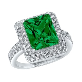 ELYA Sterling Silver Green Radiant-cut Cubic Zirconia Double Halo Ring