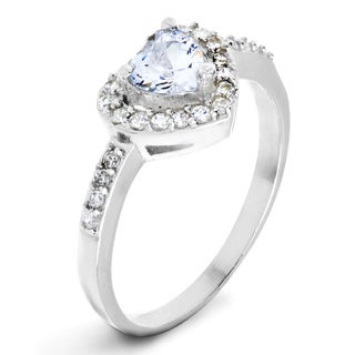 ELYA Designs Silver Clear Heart-cut Cubic Zirconia Double Halo Ring