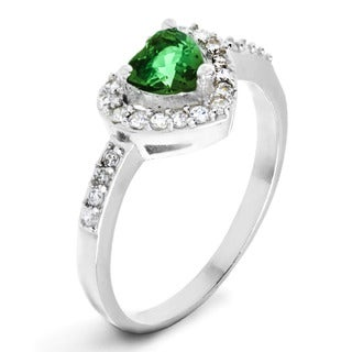 ELYA Designs Silver Green Heart-cut Cubic Zirconia Double Halo Ring
