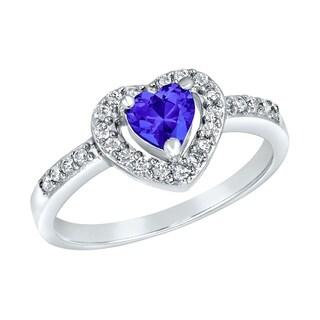 ELYA Sterling Silver Blue Heart-cut Cubic Zirconia Double Halo Ring