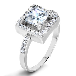 ELYA Sterling Silver Cushion-cut Clear Cubic Zirconia Halo Ring