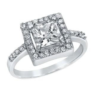 ELYA Sterling Silver Cushion-cut Clear Cubic Zirconia Halo Ring