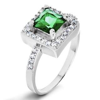 ELYA Sterling Silver Cushion-cut Green Cubic Zirconia Halo Ring