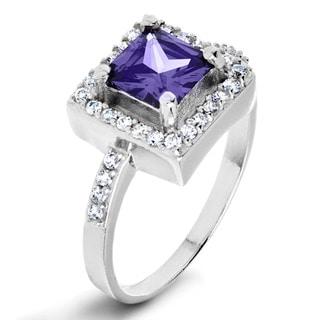 ELYA Sterling Silver Cushion-cut Purple Cubic Zirconia Halo Ring
