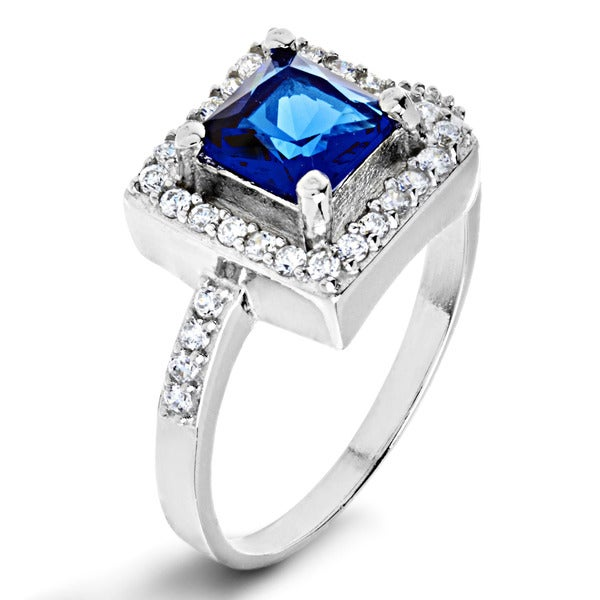 ELYA Sterling Silver Cushion-cut Blue Cubic Zirconia Halo Ring