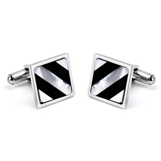 Black-plated Stainless Steel Mother of Pearl Inlay Cuff Links
