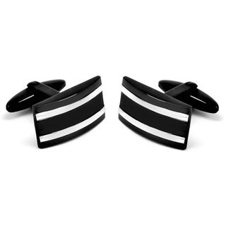 Black-plated Stainless Steel Stripe Rectangular Cuff Links