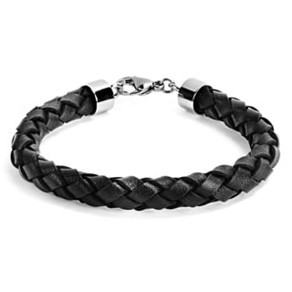 Stainless Steel and Black Braided Leather Men's Bracelet