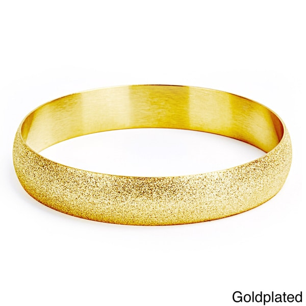 Goldplated Stainless Steel Sandblasted Bangle Bracelet 11638587