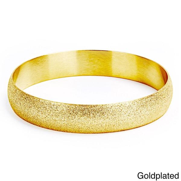 Goldplated Stainless Steel Sandblasted Bangle Bracelet 11638586