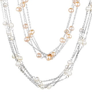 ELYA Designs Stainless Steel FW Pearl Multi-strand Necklace (6-7 mm)