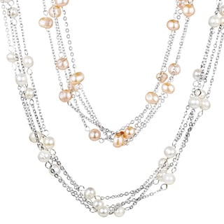 ELYA Stainless Steel FW Pearl Multi-strand Necklace (6-7 mm)