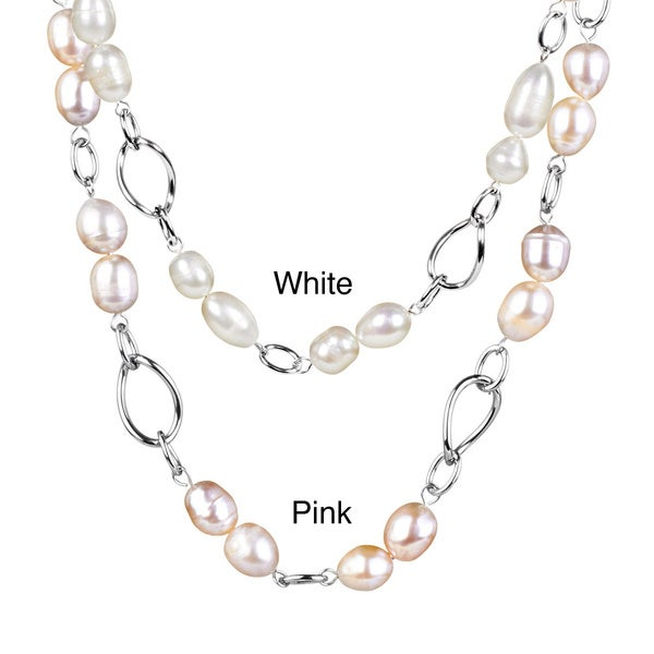 ELYA Stainless Steel Freshwater Pearl Link Necklace (9-10 mm)