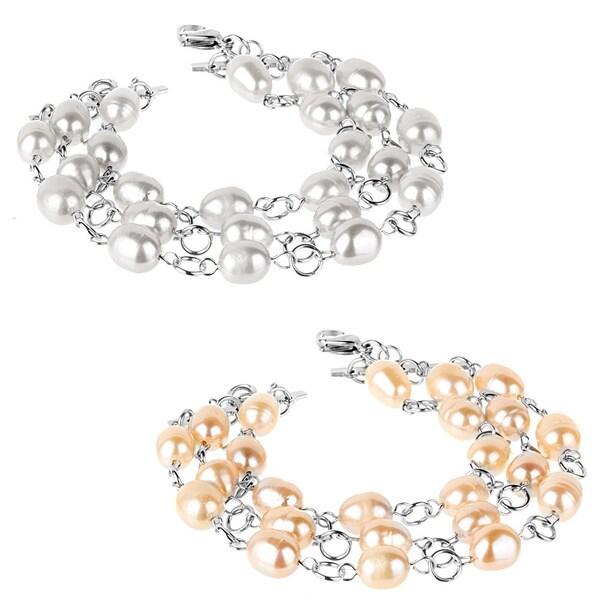 ELYA Stainless Steel Freshwater Pearl 3-strand Bracelet (10-11 mm)
