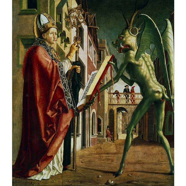 Michael Pacher 'The Devil presenting St Augustine with the book of vices' Canvas Art