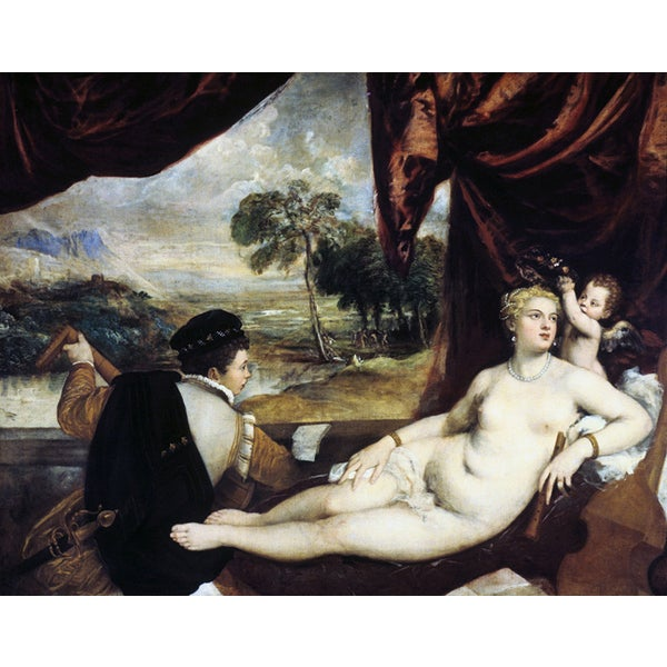 Titian 'Venus and the Lute Player' Canvas Print