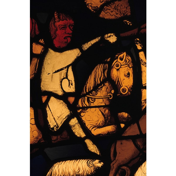 'Stained Glass of the Devil and a Horse from the Trials of Job' Canvas Print