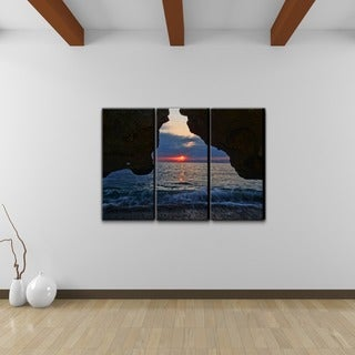 Chris Doherty 'Sunset' 3-piece Canvas Wall Art