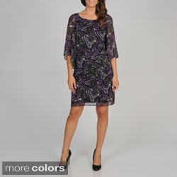 Cece's New York Women's Printed Bell Sleeve Dress