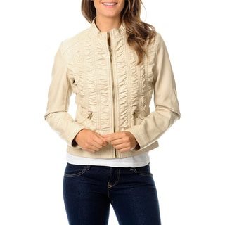 Hawke & Co Women's Malt Leatherette Rouched Jacket