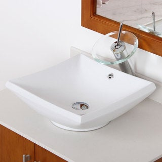 Elite Grade-A Ceramic Bathroom Sink And Chrome Finish Waterfall Faucet Combo