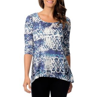 Teez-Her Women's Blue Sky Ethnic Print Burnout Top