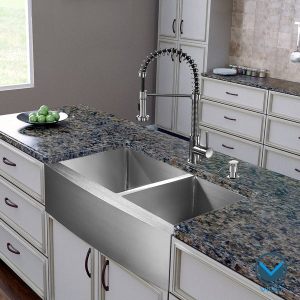 Stainless Steel Double Farmhouse Sink : ... inch Farmhouse Stainless Steel Double Bowl Kitchen Sink and Faucet Set