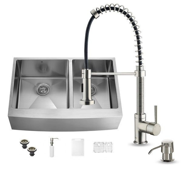 Stainless Steel Farmhouse Sink 36 Inch : All in One 36-inch Farmhouse Stainless Steel Double Bowl Kitchen Sink ...
