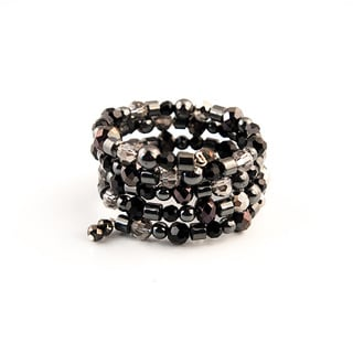 Shimmering Black and Metallic Bead Wrap Bracelet (China)