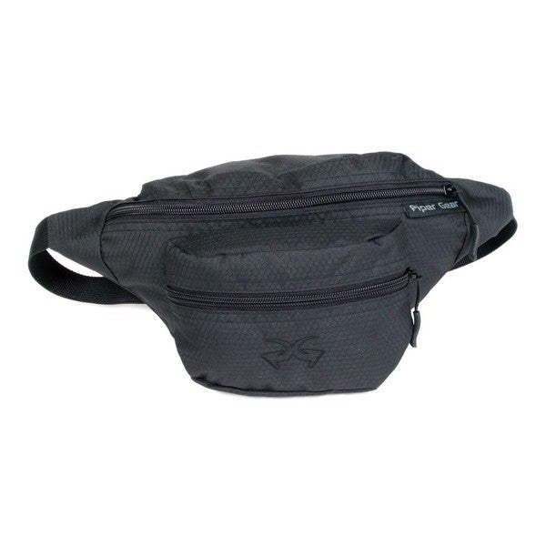 Black Fitted Belted Fabric Waist Pack
