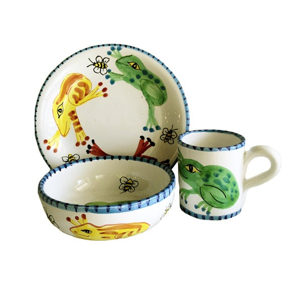 Handmade Baby Frog Ceramic Child Place Setting (Italy) 11639137