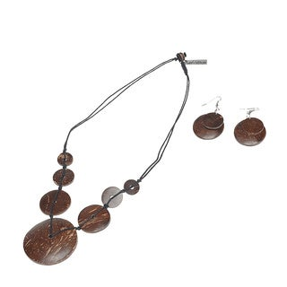 Eco Friendly Wood Coconut Shell Necklace and Earring Set