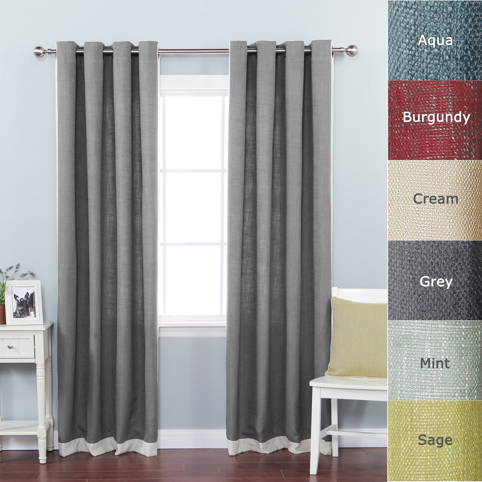 Lights Out Faux Linen Grommet Top Border Detail 84-inch Curtain Panel ...