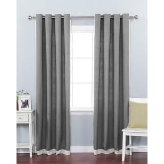 Aurora Home Faux Linen Grommet Top Border Detail 84-inch Curtain Panel Pair