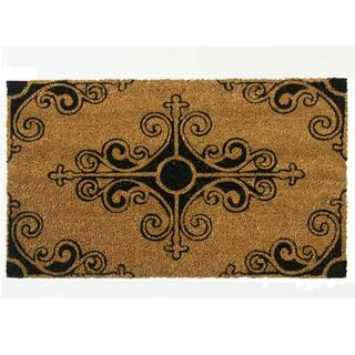 Rubber-Cal 'Traditional Fleur-de-Lis French Mat' Coir Outdoor Mat (18 x 30)
