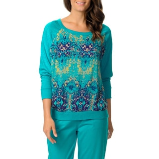 Oleg Cassini Women's Juniper Abstract Print Dolman Sleeve Top