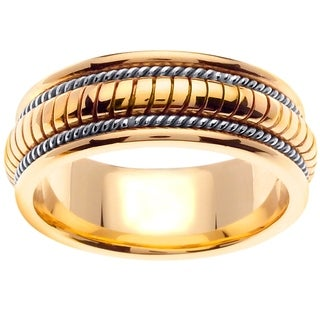 14k Two-tone Gold Men's Comfort-fit Handmade Tri-contoured Wedding Band