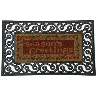 Rubber-Cal 'Seasons Greetings' Coco Coir Doormat (18 x 30)