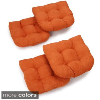Blazing Needles 19-inch U-Shaped Tufted Microsuede Chair Cushions (Set of 4)