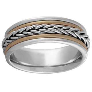 14k Two-tone Gold Men's Comfort-fit Handmade Woven Wedding Band