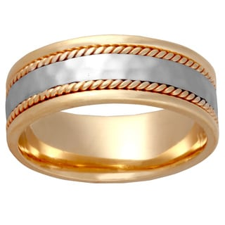 14k Two-tone Gold Men's Comfort-fit Handmade Dual Rope Wedding Band
