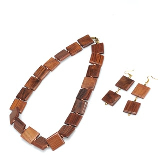 Eco Friendly Wood Tiles Necklace and Earring Set (India)