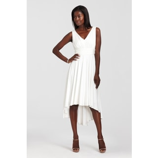Maggy Boutique Women's Ivory Pleated High-low Dress