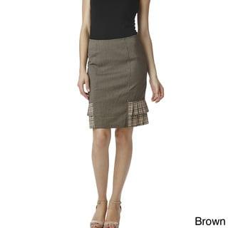 Stanzino Women's Pleated Side Pencil Skirt