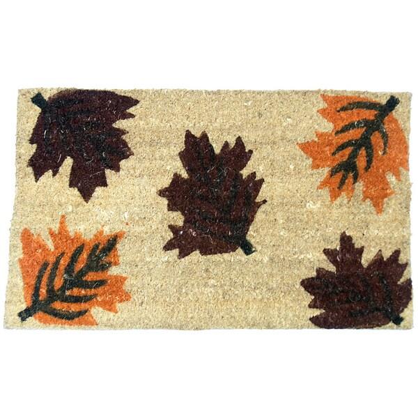 Rubber-Cal 'Maple Leaf' Coir Outside Door Mat (18 x 30)