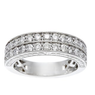 14k White Gold 1ct TDW Certified Double Row Diamond Band (H-I, I1-I2)