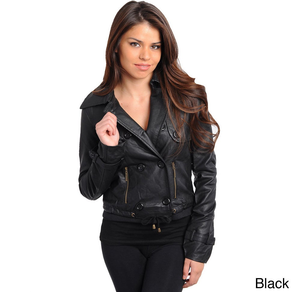 Stanzino Women's Slim Fit Leatherette Double Breasted Jacket at Sears.com